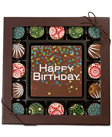 16 Piece Artisan Truffle Box + Happy Birthday Square