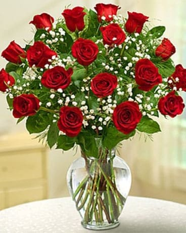 Flower arrangement of bright red roses