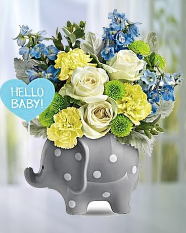 Hello Sweet Baby- Blue Flower Arrangement