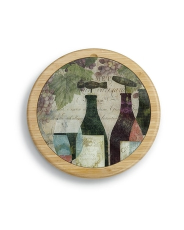 Wine Bottles Glass Cutting Board & Lazy Susan Set Gifts