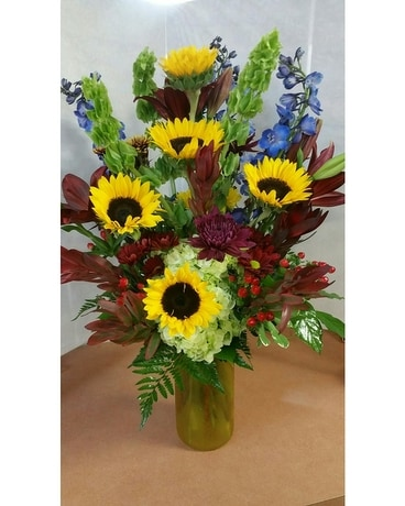Fall Sunflower Vase Arrangement In Tampa Fl Buds Blooms Beyond