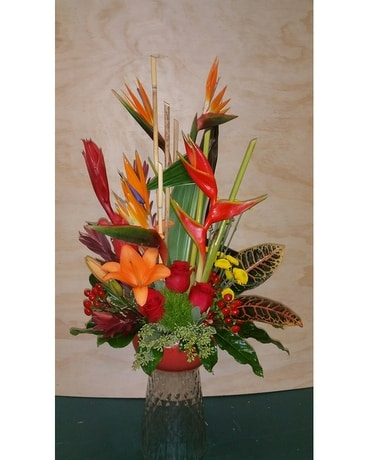 Tropical with Roses Flower Arrangement