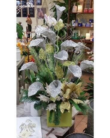 Lime Silver Silk Christmas Arrangement