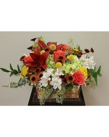 Fresh Mix Wood Box Flower Arrangement