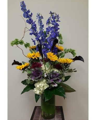Delphinium & Sunflowers Flower Arrangement