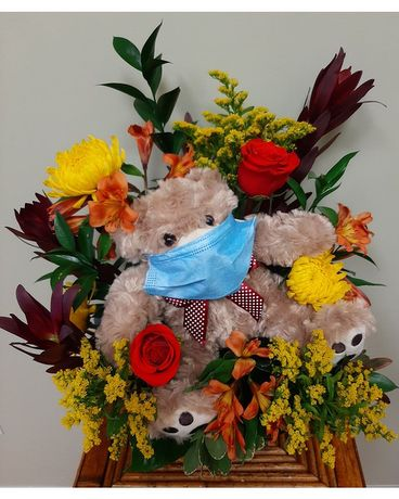 Cheer-Him-Up-Bear Flower Arrangement