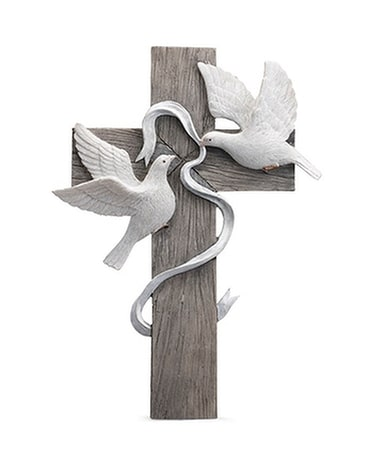 Cross With Doves Sympathy Arrangement