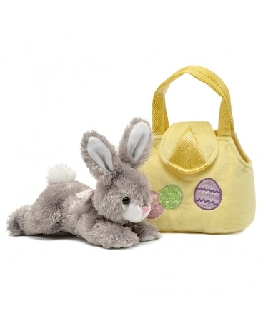 Karimee 8 inch Grey Bunny with Purse Gifts