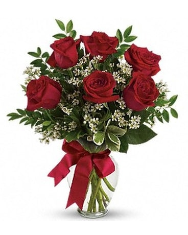6 Red Roses in a clear glass vase Flower Arrangement