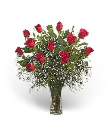 1 Doz. Long-Stemmed Roses Arranged Flower Arrangement