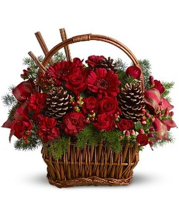 Holiday Spice Basket Flower Arrangement