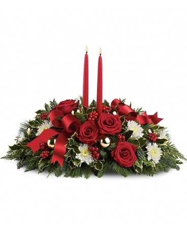 Holiday Shimmer Centerpeice Flower Arrangement