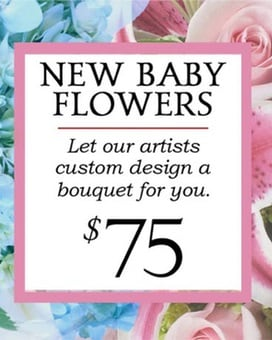 Custom Design New Baby Boy Bouquet $75 Flower Arrangement