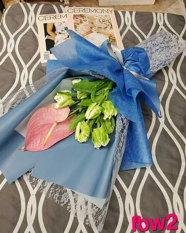 Tulips & Anthurium Bouquet, Custom Wrapping Paper Flower Arrangement