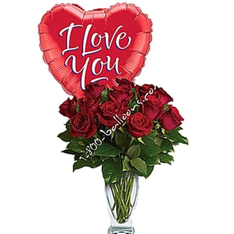 Dozen Red Roses With I Love You Balloon In Elizabeth Pa Barton S Flowers Bake Shop