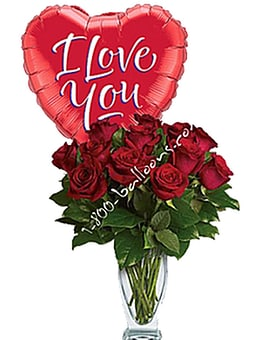 Dozen Red Roses with I Love You Balloon Custom product