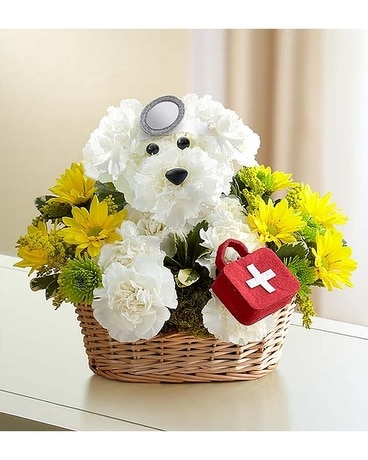 Get Well Dogable Flower Arrangement