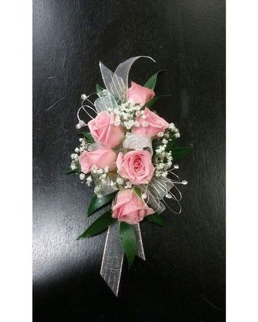 Pink Rose Wrist Corsage with Jewels Flower Arrangement