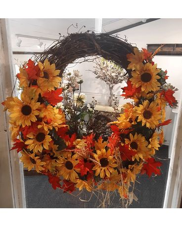 Door Wreath Flower Arrangement