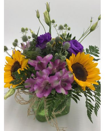 Sunny Violets Flower Arrangement