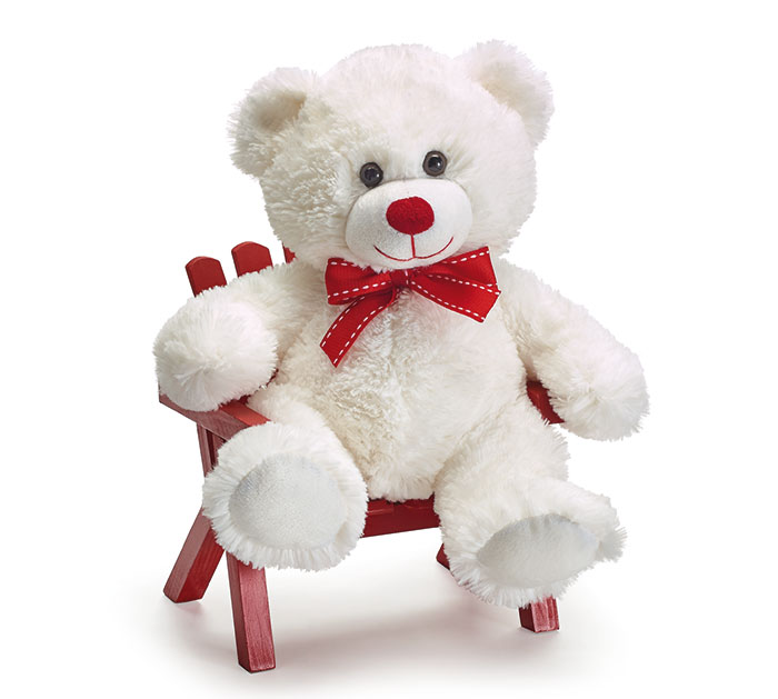 Plush White Bear With Red Bowtie, 11