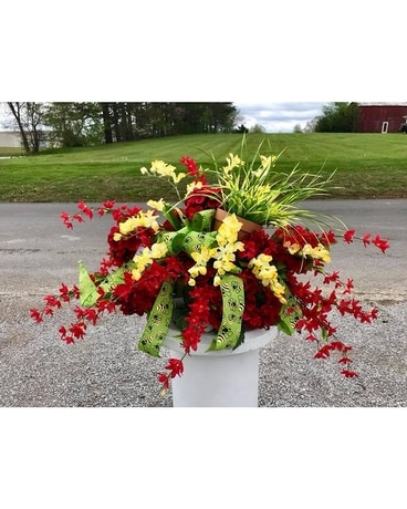YELLOW WITH REDS AND CLAY POT Custom product