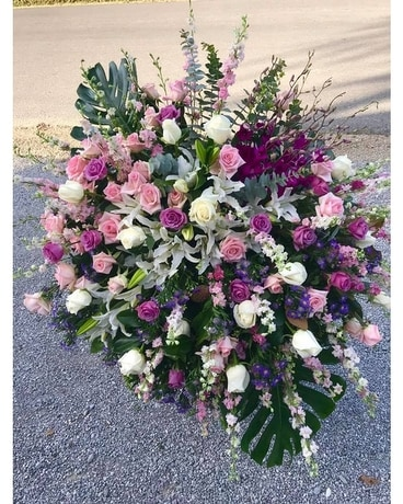 ARRAY OF LAVENDER, PINK AND WHITE Sympathy Arrangement