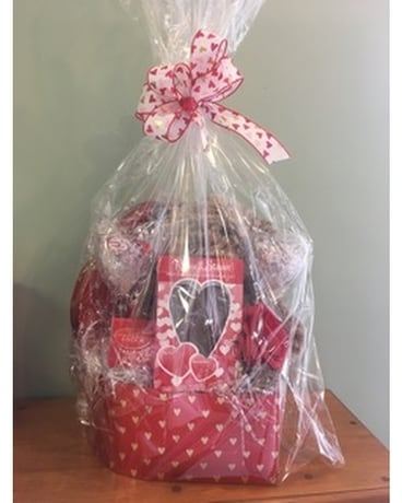 Valentine's Gift Basket Flower Arrangement