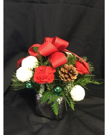 Festive Silver, green and red delight Flower Arrangement