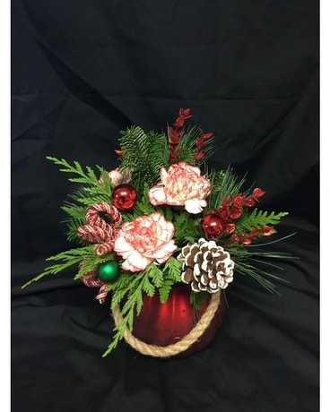 Red and green Glitter and Shine Flower Arrangement
