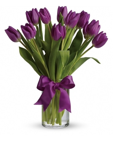 Passionate Purple Tulips Flower Arrangement