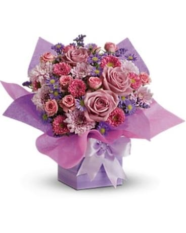 Teleflora's Perfectly Purple Present Flower Arrangement