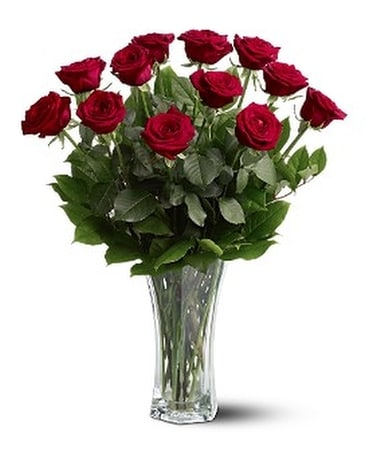 A Dozen Premium Res Roses Flower Arrangement