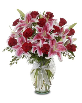 Stargazers and Roses Flower Arrangement