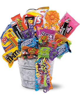 Junk Food Bucket Flower Arrangement