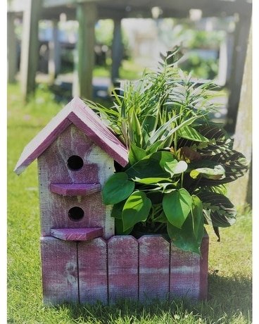 Small Birdhouse planter Flower Arrangement
