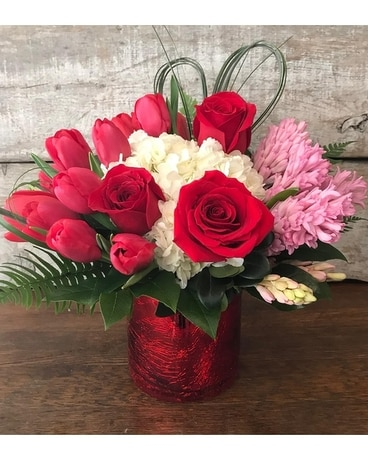 Cupid's Cylinder Vase Flower Arrangement