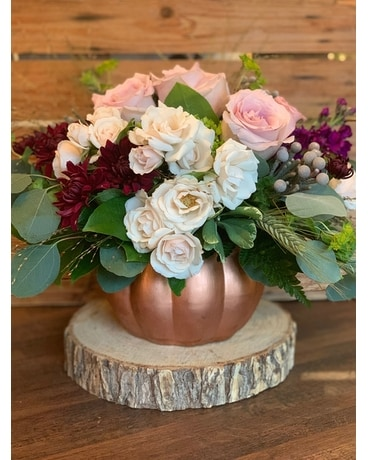 The Flower Shoppe's Copper Harvest Flower Arrangement