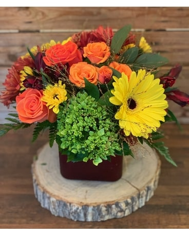 The Flower Shoppe's Fall Burst Flower Arrangement