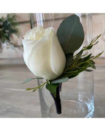 White Rose Boutonniere (choose your stem color) Boutonniere