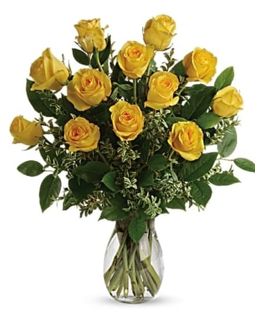 1 Dozen Long Stem Yellow Roses Flower Arrangement