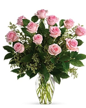 1 Dozen Long Stem Light Pink Roses Flower Arrangement