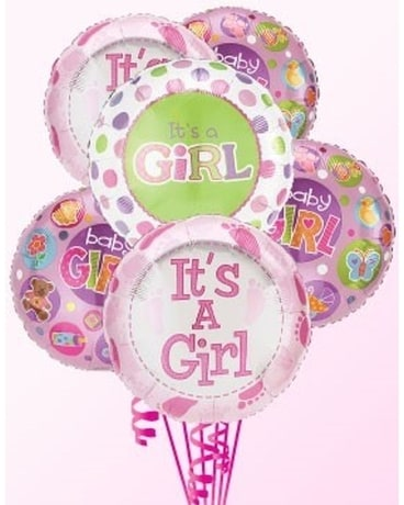 It's A Girl Balloon Bouquet Flower Arrangement