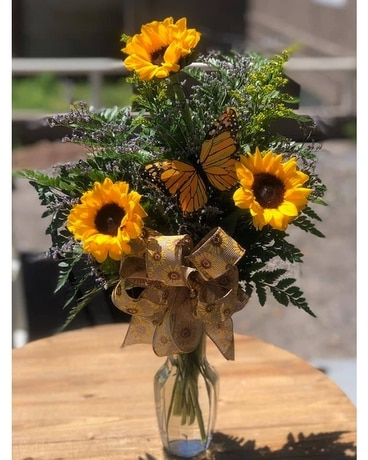 SUNFLOWERS AND BUTTERFLIES Flower Arrangement