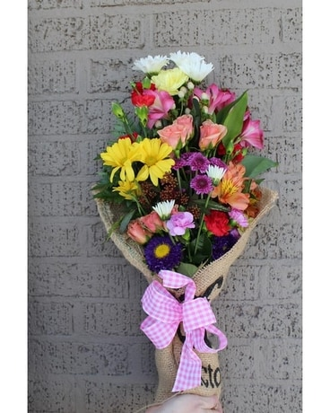 HAND WRAPPED SPRING MIX Flower Arrangement