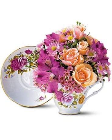 Pink Roses Teacup Bouquet - by America's Beautiful Flower Arrangement
