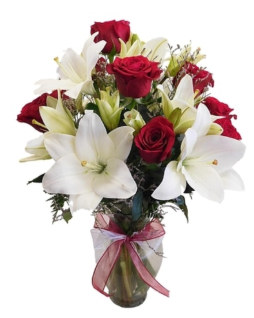 Premium Roses and Lilies Flower Arrangement