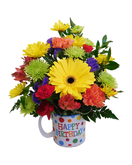 Happy Birthday Polka Dot Mug Flower Arrangement