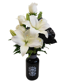 White Skull Flower Arrangement
