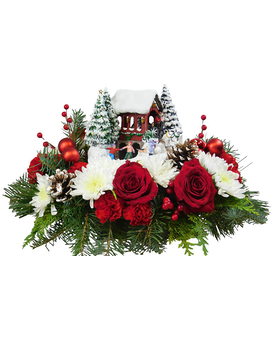 Thomas Kinkade Snowfall Dreams Flower Arrangement